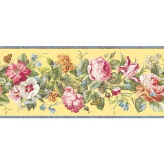 8 3/4 in x 15 ft Prepasted Wallpaper Borders - Floral Wall Paper Border QT18136B