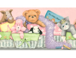 Prepasted Wallpaper Borders - RU8126B Baskets Of Stuffed Animals Wall Paper Border