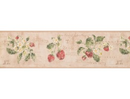 Prepasted Wallpaper Borders - Strawberry Wall Paper Border 3288 RY