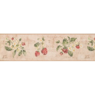 7 in x 15 ft Prepasted Wallpaper Borders - Strawberry Wall Paper Border 3288 RY