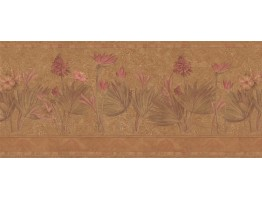 Prepasted Wallpaper Borders - Floral Wall Paper Border S5232B