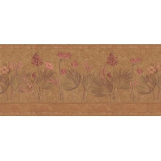 10 in x 15 ft Prepasted Wallpaper Borders - Floral Wall Paper Border S5232B