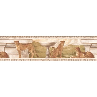 8 in x 15 ft Prepasted Wallpaper Borders - Cheetah Wall Paper Border S5346B
