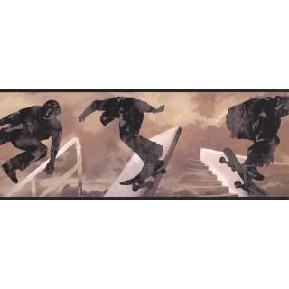 9 in x 15 ft Prepasted Wallpaper Borders - Skating Wall Paper Border 6346 SK