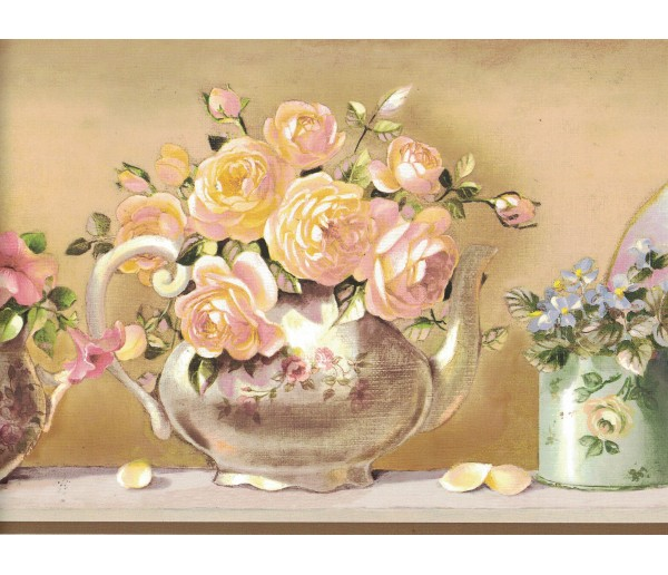 Floral Borders Flower Wallpaper Border SM05102B Shelbourne Wallcoverings