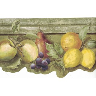 6 3/4 in x 15 ft Prepasted Wallpaper Borders - Fruits Wall Paper Border ST50554B