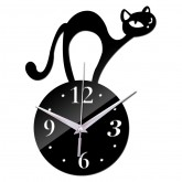 Wall Clocks DIY 3D Acrylic Wall Clock With Cat Sticker