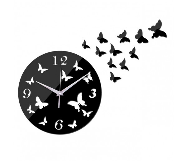 Wall Clocks DIY 3D Acrylic Wall Clock With Butterfly Sticker