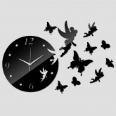 Wall Clocks: DIY 3D Acrylic Wall Clock With Butterfly Sticker