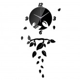 Wall Clocks DIY 3D Acrylic Wall Clock With Leaves Sticker