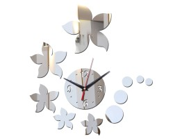 DIY 3D Acrylic Wall Clock With Flower Sticker