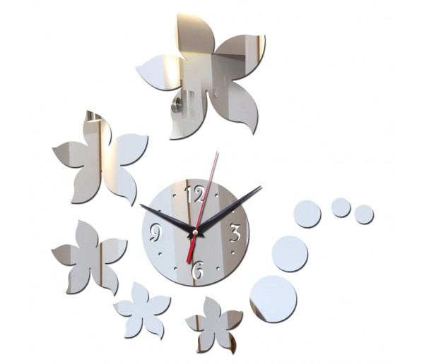 Wall Clocks DIY 3D Acrylic Wall Clock With Flower Sticker