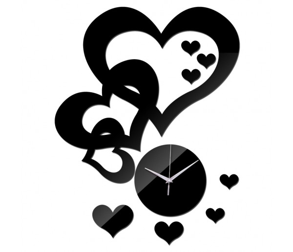 Wall Clocks DIY 3D Acrylic Wall Clock With Heart Sticker