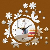 Wall Clocks DIY 3D Acrylic Wall Clock With Flower Sticker