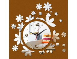 DIY 3D Acrylic Wall Clock With Flower Sticker