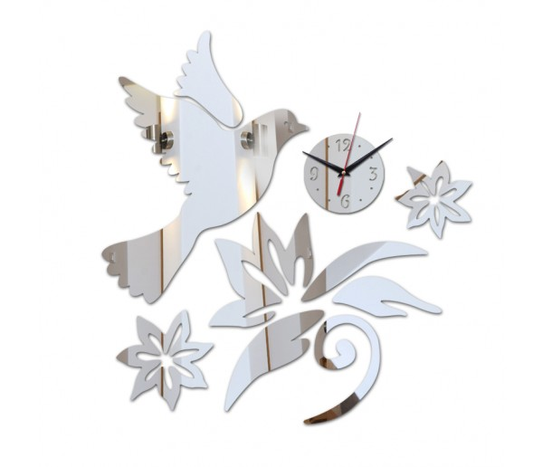 Wall Clocks DIY 3D Acrylic Wall Clock With Bird Sticker