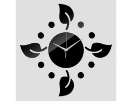 DIY 3D Acrylic Wall Clock With Leaves Sticker