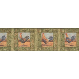 7 in x 15 ft Prepasted Wallpaper Borders - Roosters Wall Paper Border WD76842LL