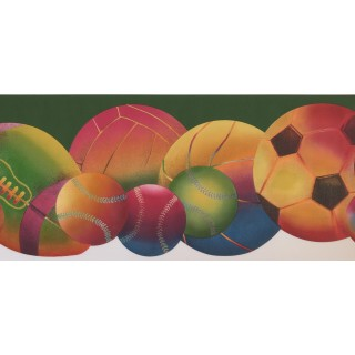 8 1/2 in x 15 ft Prepasted Wallpaper Borders - Sorts Ball Wall Paper Border 9292 WK