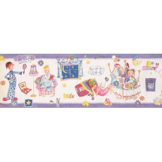 8 in x 15 ft Prepasted Wallpaper Borders - Girls Wall Paper Border 9139 WWK