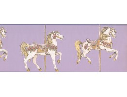9 in x 15 ft Prepasted Wallpaper Borders - Horses Wall Paper Border 9137 YS