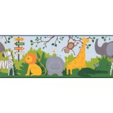 Jungle Animals Wallpaper Border 3207 ZB York Wallcoverings