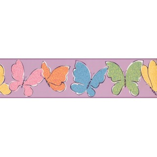 6 in x 15 ft Prepasted Wallpaper Borders - Butterfly Wall Paper Border 3425 ZB