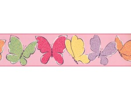 Prepasted Wallpaper Borders - Butterfly Wall Paper Border 3426 ZB