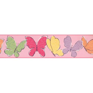 6 in x 15 ft Prepasted Wallpaper Borders - Butterfly Wall Paper Border 3426 ZB
