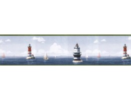 6 7/8 in x 15 ft Prepasted Wallpaper Borders - Light House Wall Paper Border HIC0026