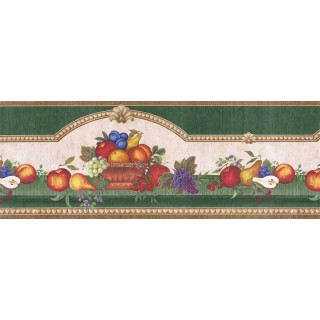 9 5/8 in x 15 ft Prepasted Wallpaper Borders - Fruits Wall Paper Border FAB02061