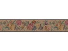 Prepasted Wallpaper Borders - Floral Wall Paper Border B03611