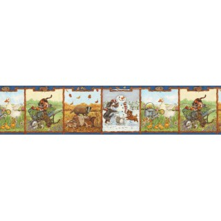 6 7/8 in x 15 ft Prepasted Wallpaper Borders - Animals Wall Paper Border B05715