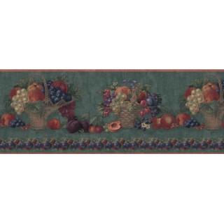 10 1/4 in x 15 ft Prepasted Wallpaper Borders - Fruits Wall Paper Border B06043