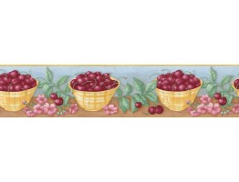 6 7/8 in x 15 ft Prepasted Wallpaper Borders - Fruits Wall Paper Border 92521FP