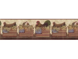 Prepasted Wallpaper Borders - Roosters Wall Paper Border b10179