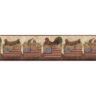 10 1/4 in x 15 ft Prepasted Wallpaper Borders - Roosters Wall Paper Border b10179