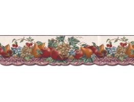 6 3/4 in x 15 ft Prepasted Wallpaper Borders - Fruits Wall Paper Border B10294