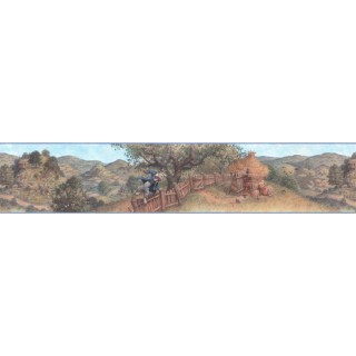 6 in x 15 ft Prepasted Wallpaper Borders - Three Little Pigs Wall Paper Border b103391