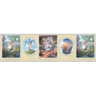 10 1/4 in x 15 ft Prepasted Wallpaper Borders - Nursery Rhyme Wall Paper Border b103422