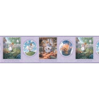 10 1/4 in x 15 ft Prepasted Wallpaper Borders - Nursery Rhyme Wall Paper Border b103423