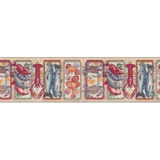 10 1/4 in x 15 ft Prepasted Wallpaper Borders - Sea world Wall Paper Border b103740