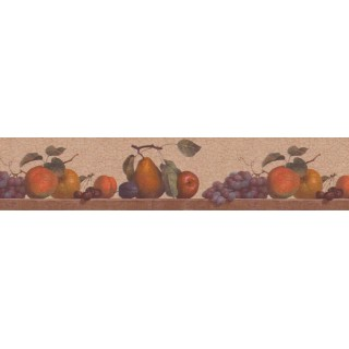 6 1/4 in x 15 ft Prepasted Wallpaper Borders - Fruits Wall Paper Border b103770