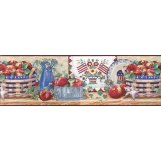 9 1/2 in x 15 ft Prepasted Wallpaper Borders - Apple Fruits Wall Paper Border B11021