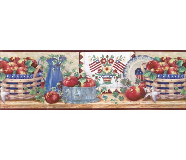 Garden Wallpaper Borders: Apple Fruits Wallpaper Border B11021