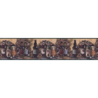 6 7/8 in x 15 ft Prepasted Wallpaper Borders - Kitchen Wall Paper Border B1132AMD