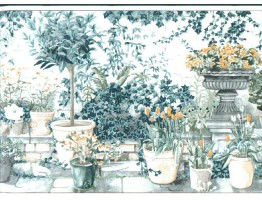 Prepasted Wallpaper Borders - Garden Wall Paper Border TC11343