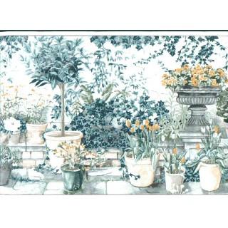 8 3/8 in x 15 ft Prepasted Wallpaper Borders - Garden Wall Paper Border TC11343