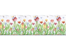 9 1/2 in x 15 ft Prepasted Wallpaper Borders - Birds House Wall Paper Border KS11688DB
