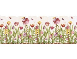 9 1/2 in x 15 ft Prepasted Wallpaper Borders - Birds House Wall Paper Border KS11689DB